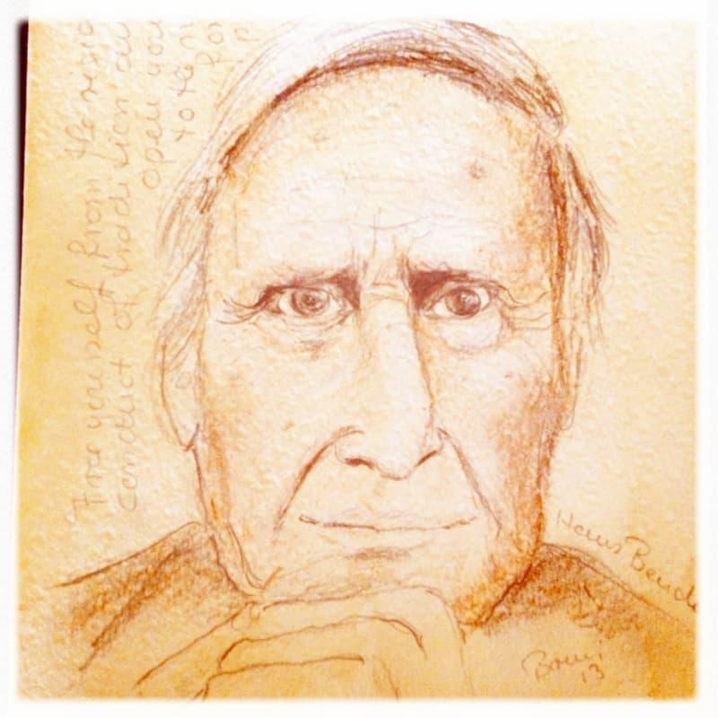 Zeichnung Prof. Dr. Hans Bender Parapsychologe Freiburg, Spirit Guide Kai Muegge