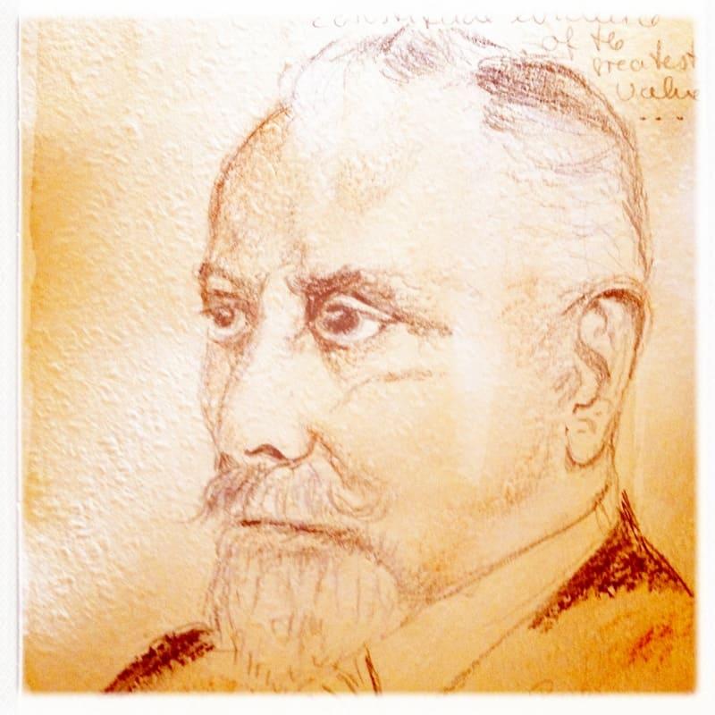 Zeichnung Freiherr von Schrenck Notzing, Spirit Guide Felix Zirkel